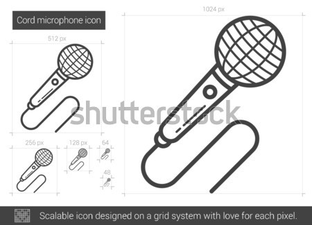 Cord microphone line icon. Stock photo © RAStudio