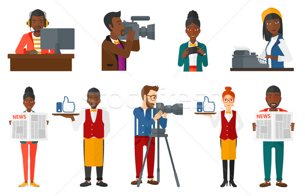 Vector set of media people characters. Stock photo © RAStudio