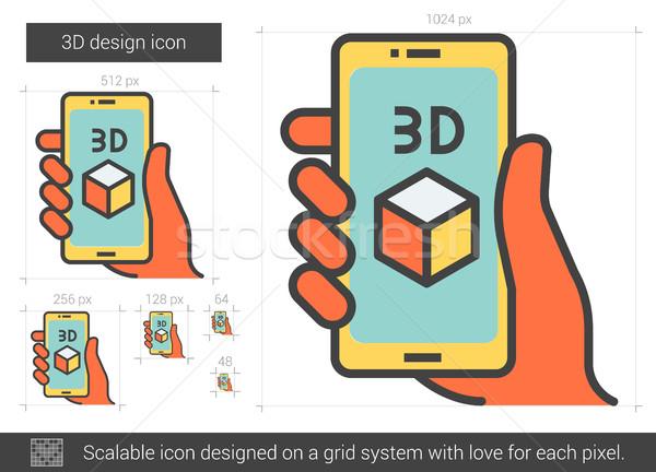 Stock photo: Three d design line icon.