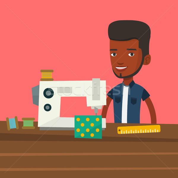 Naaimachine workshop afrikaanse mannelijke werken doek Stockfoto © RAStudio