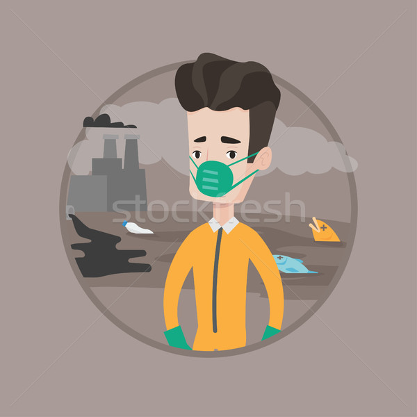 Uomo radiazione suit giovani scienziato maschera antigas Foto d'archivio © RAStudio