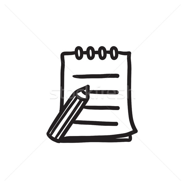 Writing pad and pen sketch icon. Stock photo © RAStudio