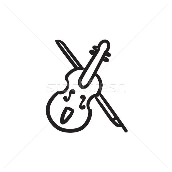 Viool boeg schets icon vector geïsoleerd Stockfoto © RAStudio