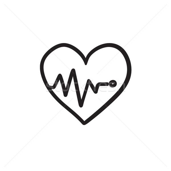 Coeur cardiogramme croquis icône vecteur isolé Photo stock © RAStudio