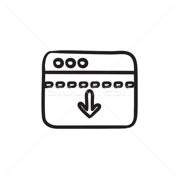 ブラウザ ウィンドウ 矢印 ダウン スケッチ アイコン ストックフォト © RAStudio
