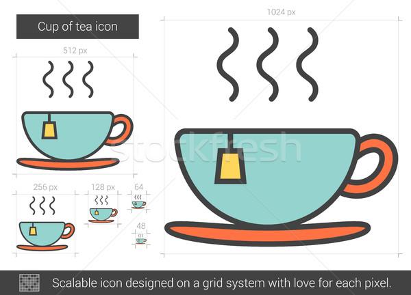Fincan çay hat ikon vektör yalıtılmış Stok fotoğraf © RAStudio