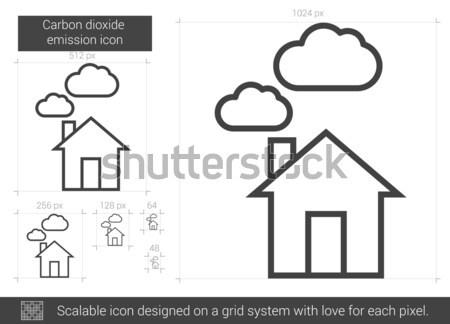 Szén kibocsátás vonal ikon vektor izolált Stock fotó © RAStudio