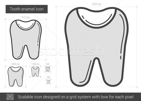 Dente esmalte linha ícone vetor isolado Foto stock © RAStudio
