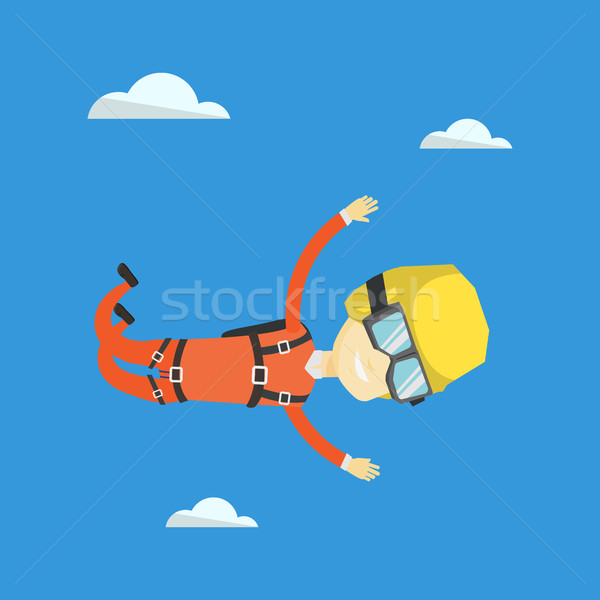 Asian parachutist jumping with parachute. Stock photo © RAStudio