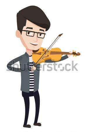 Adam oynama viyolonsel genç mutlu müzisyen Stok fotoğraf © RAStudio