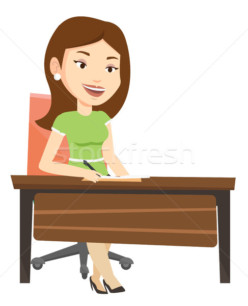 Journalist writing in notebook with pencil. Stock photo © RAStudio