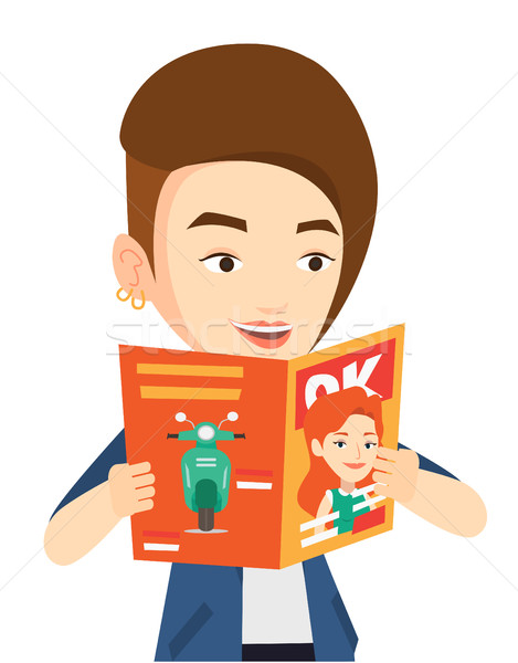 Woman reading magazine vector illustration. Stock photo © RAStudio