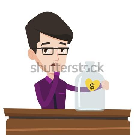 Homme regarder vide argent boîte Photo stock © RAStudio
