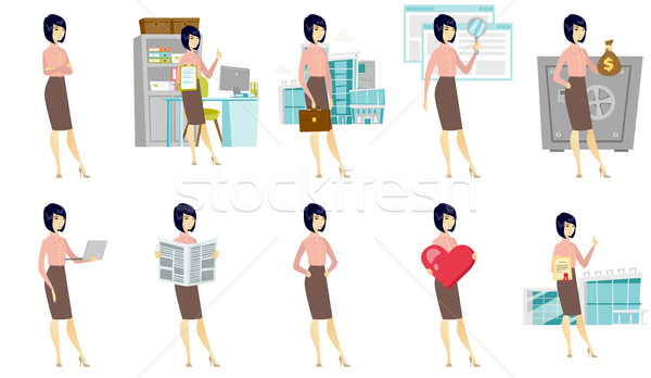Vektor szett illusztrációk üzletemberek ázsiai üzletasszony Stock fotó © RAStudio