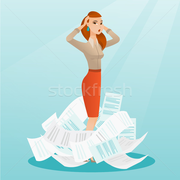Stressed business woman having lots of work to do. Stock photo © RAStudio