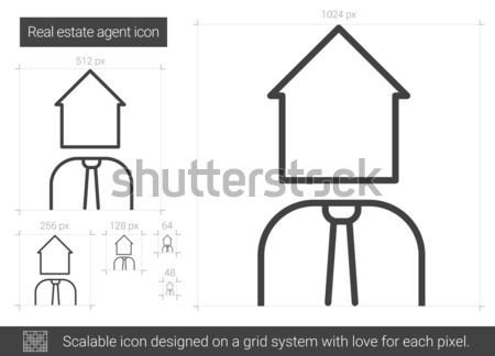 Agente immobiliare line icona vettore isolato bianco Foto d'archivio © RAStudio