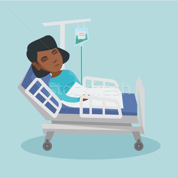 Foto stock: Mujer · caída · contra · jóvenes · procedimiento · médico