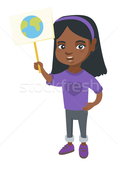 African-american girl holding placard with planet. Stock photo © RAStudio