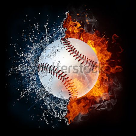 Fastball Ball flying in violet particles. Stock photo © RAStudio
