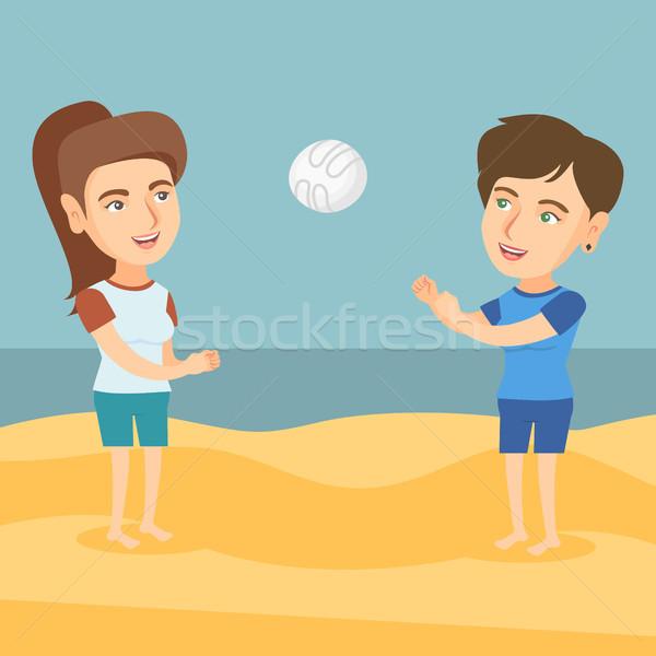 Dwa kobiet gry plaży siatkówka Zdjęcia stock © RAStudio
