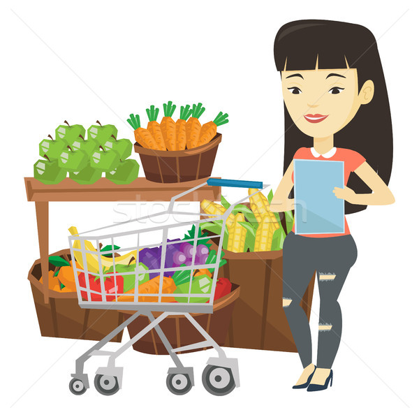 Woman with shopping list vector illustration. Stock photo © RAStudio