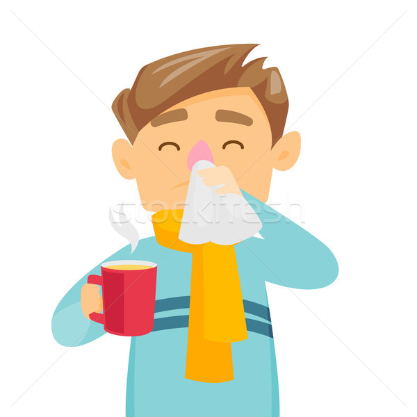 Sick caucasian white man blowing his nose. Stock photo © RAStudio