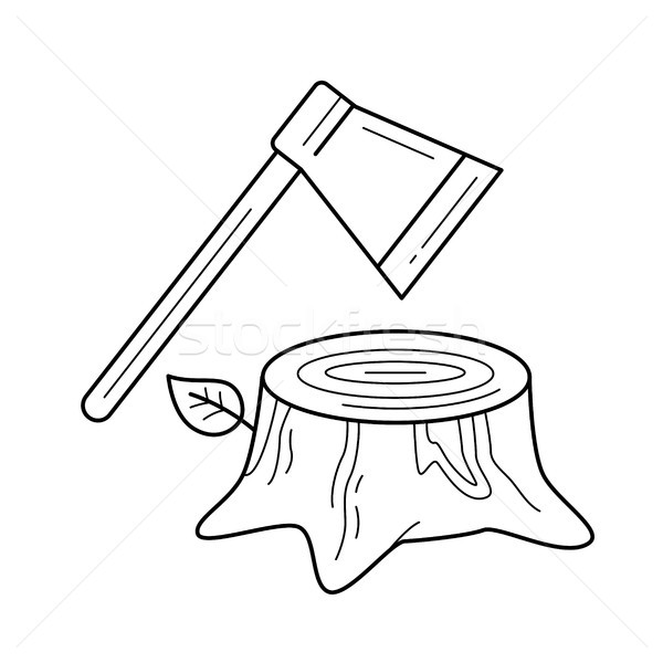 Deforestation vector line icon. Stock photo © RAStudio
