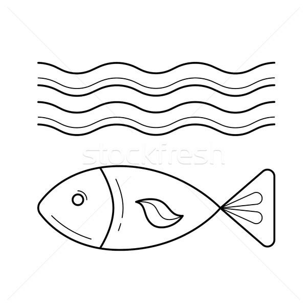 Stock photo: Fish under sea wave vector line icon.