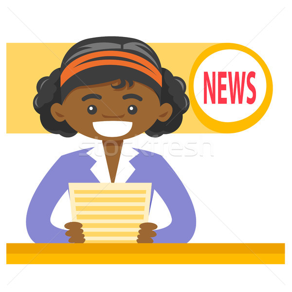 African-american anchorwoman reporting the news. Stock photo © RAStudio