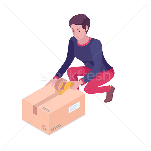 Young caucasian white woman packing cardboard box. Stock photo © RAStudio