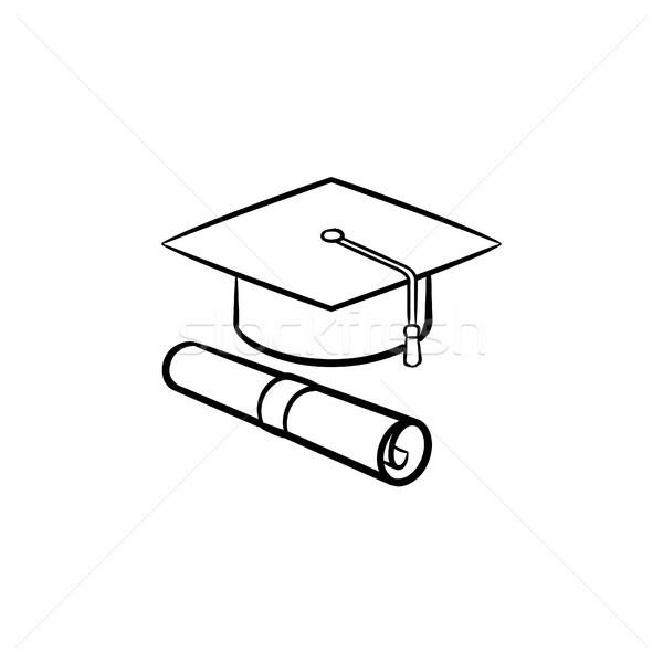 Stok fotoğraf: Kapak · mezun · sertifika · ikon