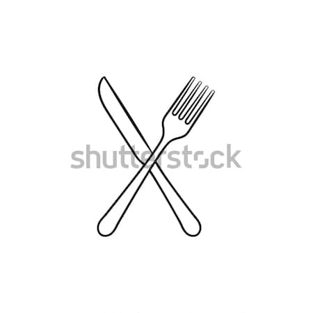 Stock photo: Fork and knife hand drawn sketch icon.