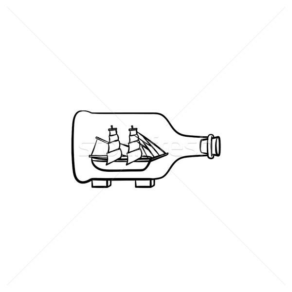 Ship inside the bottle hand drawn sketch icon. Stock photo © RAStudio