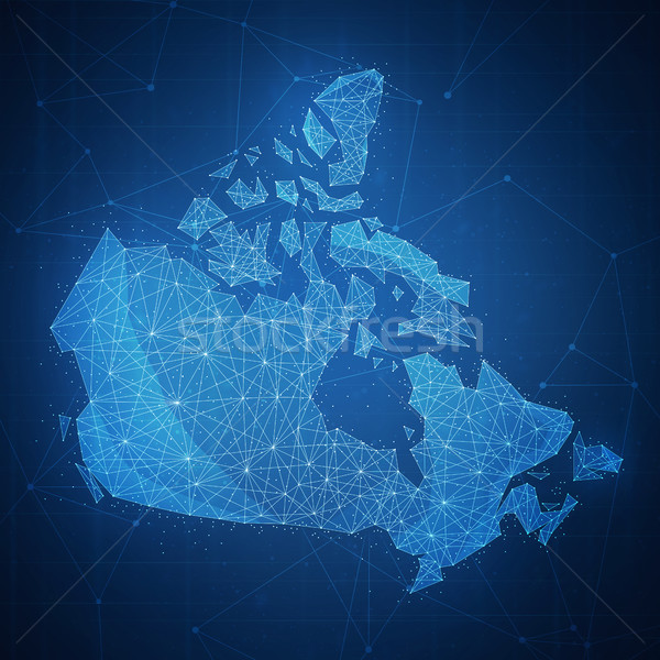 Polygon Canada map on blockchain hud banner. Stock photo © RAStudio