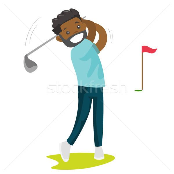 Jóvenes negro golfista pelota profesional jugando Foto stock © RAStudio