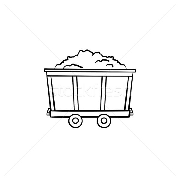 Mining trolley with coal hand drawn outline doodle icon. Stock photo © RAStudio