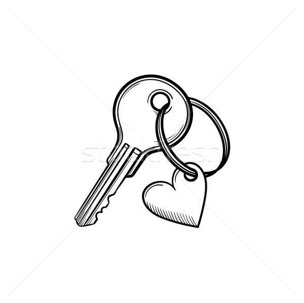 Key with heart shaped keyholder hand drawn outline doodle icon. Stock photo © RAStudio
