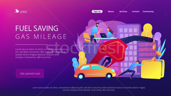 Fuel saving and gas mileage landing page. Stock photo © RAStudio