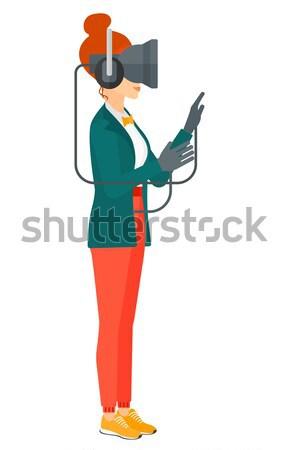 Bennszülött rajzfilmfigura izolált fehér vektor eps Stock fotó © RAStudio
