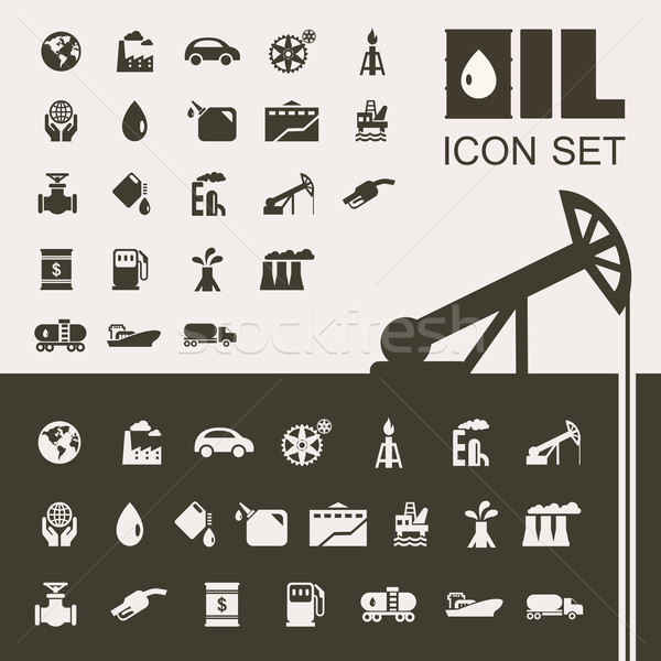 Oil Industry Flat Icon Set Stock photo © RAStudio