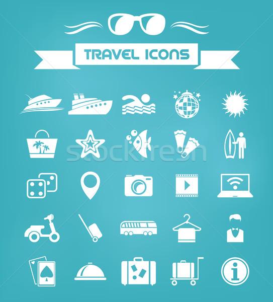 Travel Flat Icon Set Stock photo © RAStudio