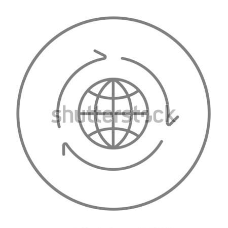 Monde flèche autour léger ligne icône Photo stock © RAStudio