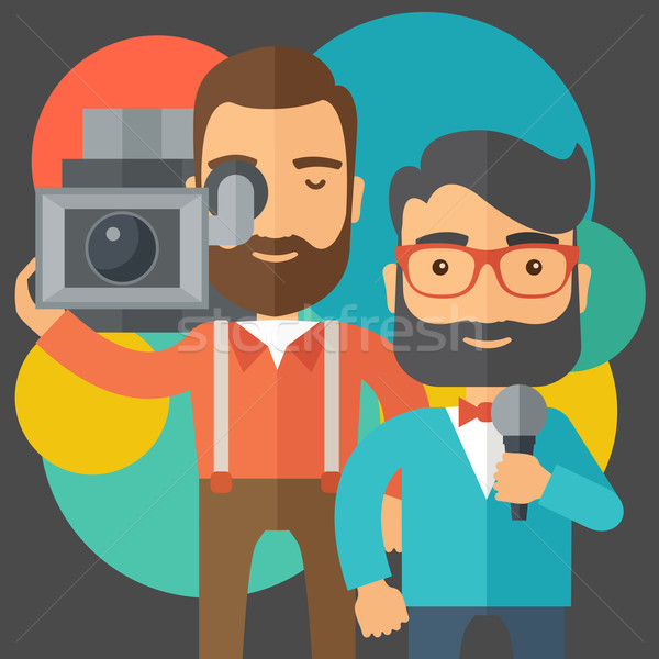 Stock photo: Jourmalist and news reporter.