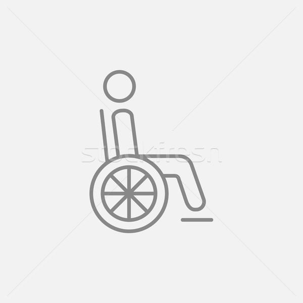 Disabled person line icon. Stock photo © RAStudio