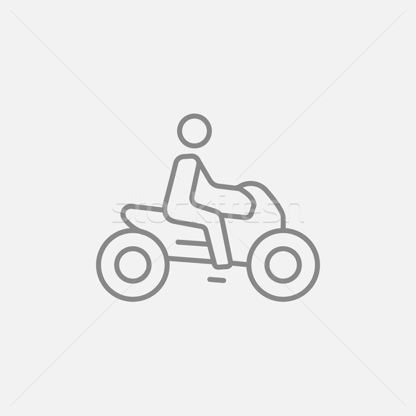 Man riding motorcycle line icon. Stock photo © RAStudio