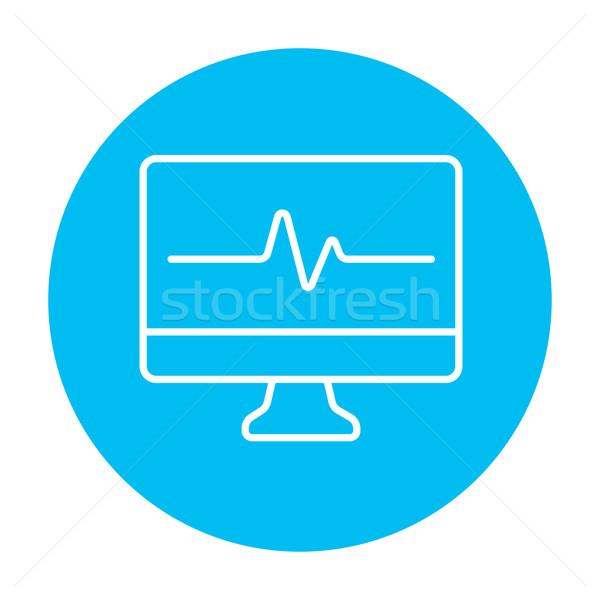 Bicie serca monitor line ikona internetowych komórkowych Zdjęcia stock © RAStudio