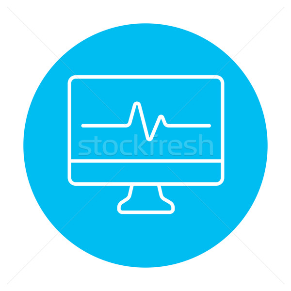 Battement de coeur suivre ligne icône web mobiles Photo stock © RAStudio