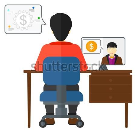 Negócio vídeo negociações homem sessão escritório Foto stock © RAStudio