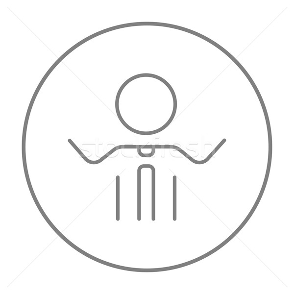 Man with raised arms line icon. Stock photo © RAStudio