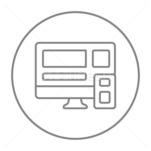 Sensible diseno web línea icono web móviles Foto stock © RAStudio
